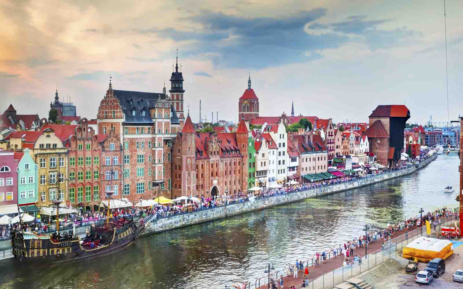 Gdansk old town and Motlawa river, Poland.